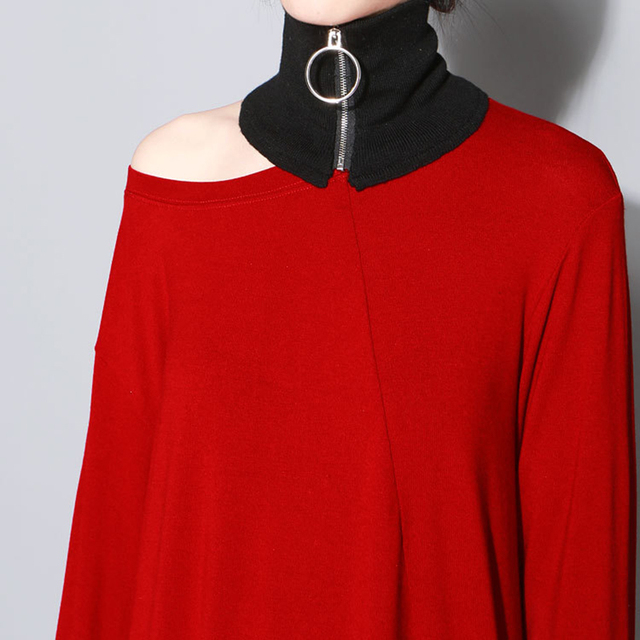 [XITAO] 2016 Europa moda feminina Roupas acessórios Círculo zipper knitting pure color quente pequeno lenço da forma HJF024