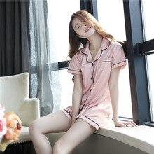 2017 Summer Style Pajamas Sets Women Female Sleep Set Women's Deep V neck Sexy Spaghetti Strap Shorts Sleepwear Silk Homewear