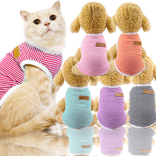 Cute Pet Clothes Striped Cat Clothing Soft Summer Vest Cat Clothes for Cat Kitten Shirt Pet T-shirt Cat Costume Small Dog Clothe