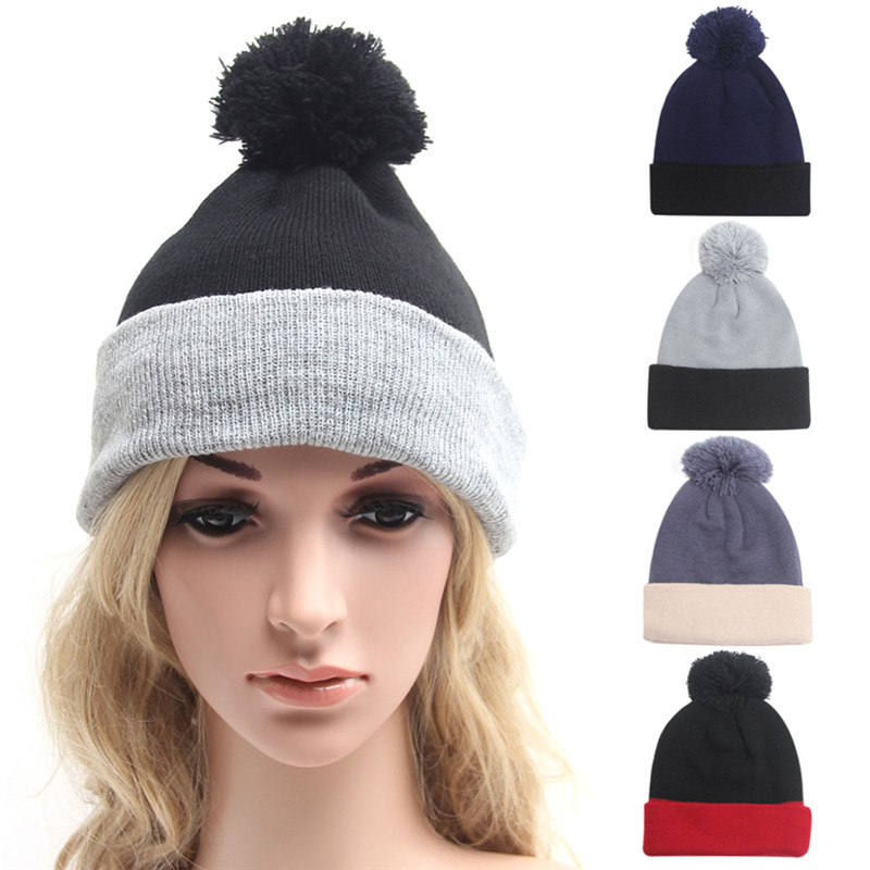 723bc0c8168e Nouveau 2016 Femmes Hiver Chapeau Chaud Polaire De Fourrure pompon chapeau  bonnet femme Laine Mélange Tricoté Bonnets Femme Cap Gorros