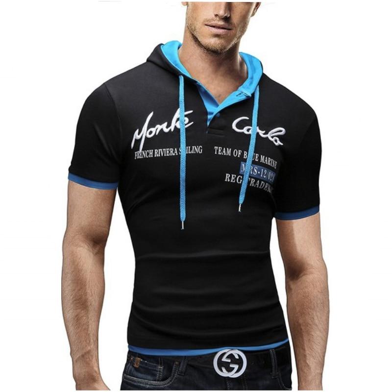 2018 남성 레저 브랜드 T 셔츠 여름 패션 남성 후드 칼라 슬링 디자인 남성 티셔츠 남성 짧은 소매 슬림 남성 탑 3XL