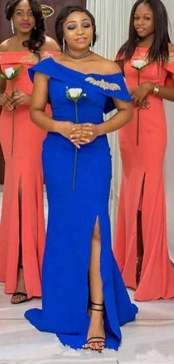 c0bae9b210 African 2019 Coral Royal Blue Off Shoulder Mermaid Bridesmaids Dresses Long  Cap Sleeve Lace Split Side Wedding Guest Dresses
