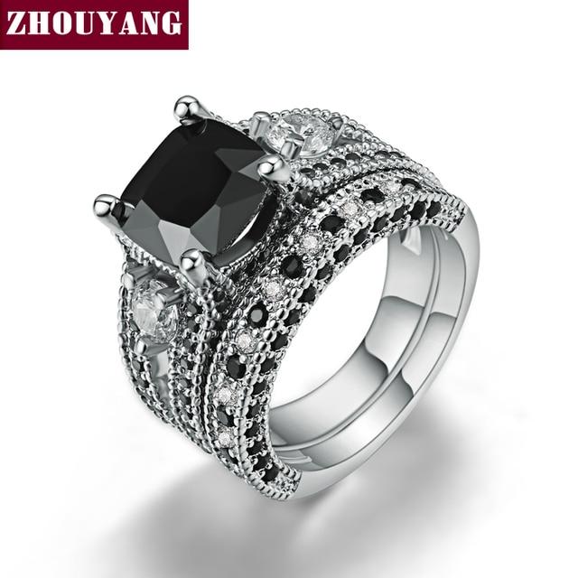 Aliexpress Buy Black Square Stone Ring Sets 18K White Gold