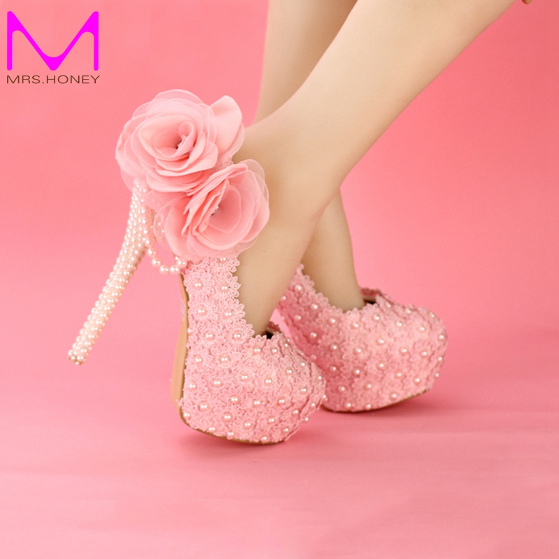 ФОТО Graceful Pink Lace Wedding Shoes 2016 Customized Platform Party Bridal Dress Shoes Birthday Party Prom Pumps Bridesmaid Shoes