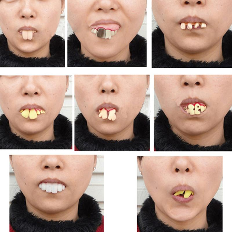 1set Prank Startle Tooth Halloween Scary Crooked Creative Teeth Novelty Toy Children Adult Horror Teeth Practical Jokes Toys