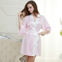 59ab91a9bfb ... Satin Short Night Robe Solid Kimono Robe Fashion Bath Robe Sexy  Bathrobe Peignoir Femme Wedding Bride Bridesmaid Robe. 🔍 Previous. Next.  Previous. Next