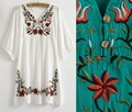 New casual dresses Women summer vestido dress 2017style clothes embroidery vestidos femininos plus size white women clothing