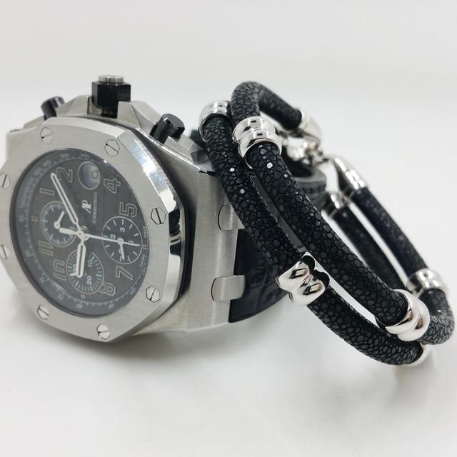 e00933d91cb6 2016 newest products ap watch partner fashion charm double circle black  stingray leather bracelets men bracelet wholesale !