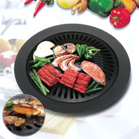 Smokeless Barbecue Pan Korean Style BBQ Round Griddle Tray Non Stick Surface Corrosion High Temperature Resistant