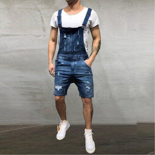 Fashion Distressed Street Overall Shorts 8