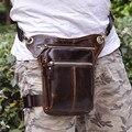 Dinero bolsa de Viaje Casual Hombres Leggings Cinturón Paquete de La Cintura Negro/Marrón de Cuero Genuino Pequeña Bolsa de Mensajero Del Hombro