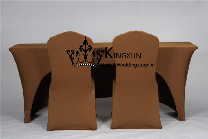 Chocolate Color One Side Open Rectangular Spandex Table Cloth Cover