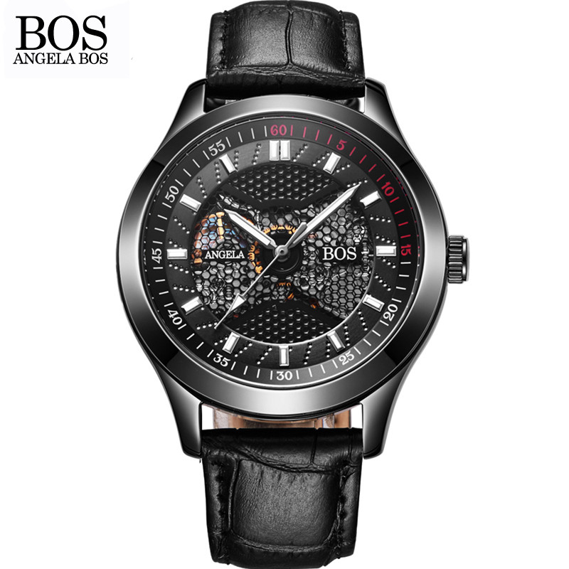 ANGELA BOS Luxury Brand Black Mechanical Skeleton Self Wind Automatic Men Watch Sport Waterproof Stainless Steel Leather Watches shenhua brand black dial skeleton mechanical watch stainless steel strap male fashion clock automatic self wind wrist watches