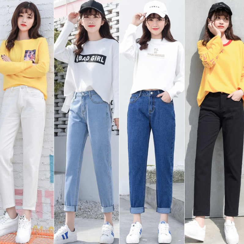 f8c1af475c5 Подробнее Обратная связь Вопросы о Большие размеры с высокой талией Джинсы  бойфренда Женская мода синий черный белый Джинсы женские джинсовые шаровары  ...