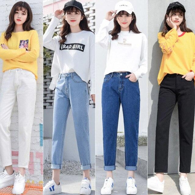 Cộng với Kích Thước Cao Eo Bạn Trai Jeans Phụ Nữ Thời Trang Màu Xanh Đen Quần Jean Màu Trắng Phụ Nữ Denim Hậu Cung Quần Tây Giản Dị Quần Jeans Femme