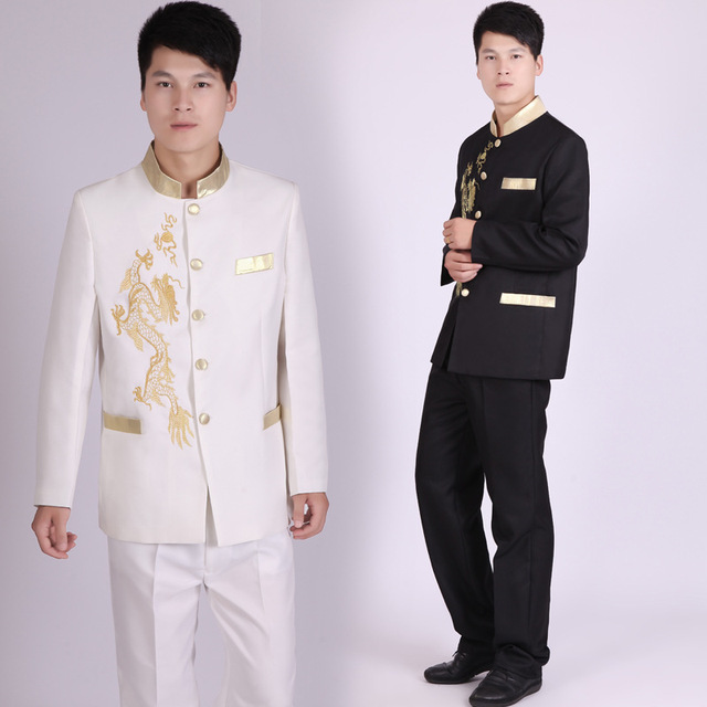 New Tunic Traditional Stand Collar Suits Costume Male Embroidery Dragon Totem Suit Chinese Wedding Dress Ancient Costume Tunic
