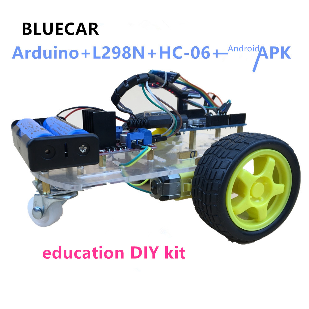 BLUE CAR Arduino Uno+L298N+hc-06+Android APK DIY KIT For Maker SINONING(China)