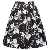Floral Print Pleated Midi Skirts Womens High Waist Skirt 2017 Saia Cotton Summer 50s Vintage Rockabilly