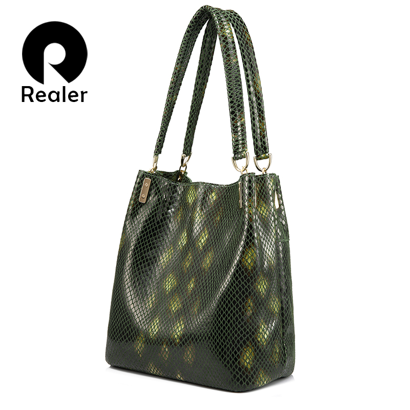 REALER Brand handbags for women fashion shoulder bag female casual tote bags genuine leather serpentine crossbody bag 2017 new цена