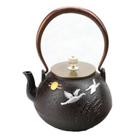 2017 1L New Cast Iron Kettle Southern Japan double Magpie Persimmon Teapot Kung Fu Tea Pot Metal Drinkware