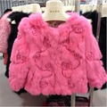 New Arrival Girls Flower Embossing Real Rabbit Fur Coat 3/4 Sleeves O-neck Short Rabbit Fur Jacket MM-15