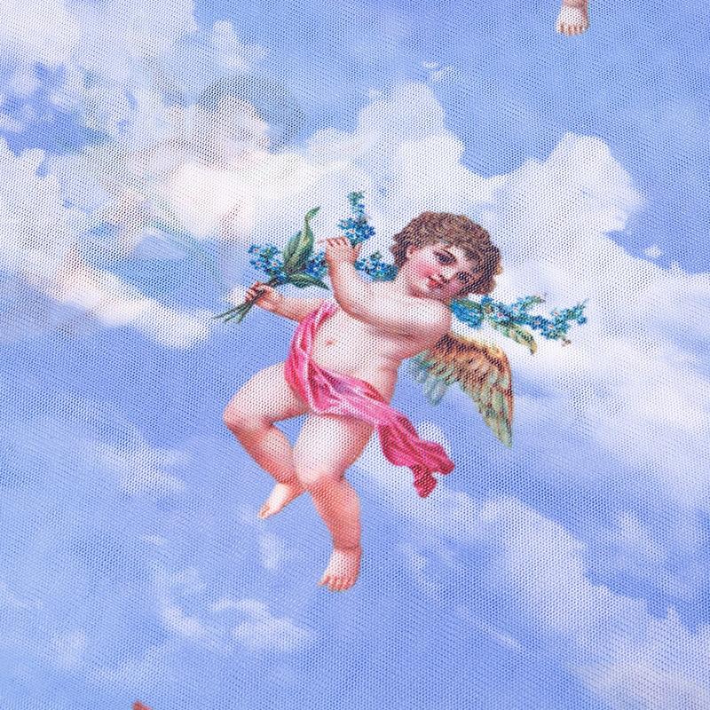 New Fashion Women See-through Sheer Mesh Fishnet T-Shirt Fashion Top Cute Angel Printed Female Summer Mesh Tops 18