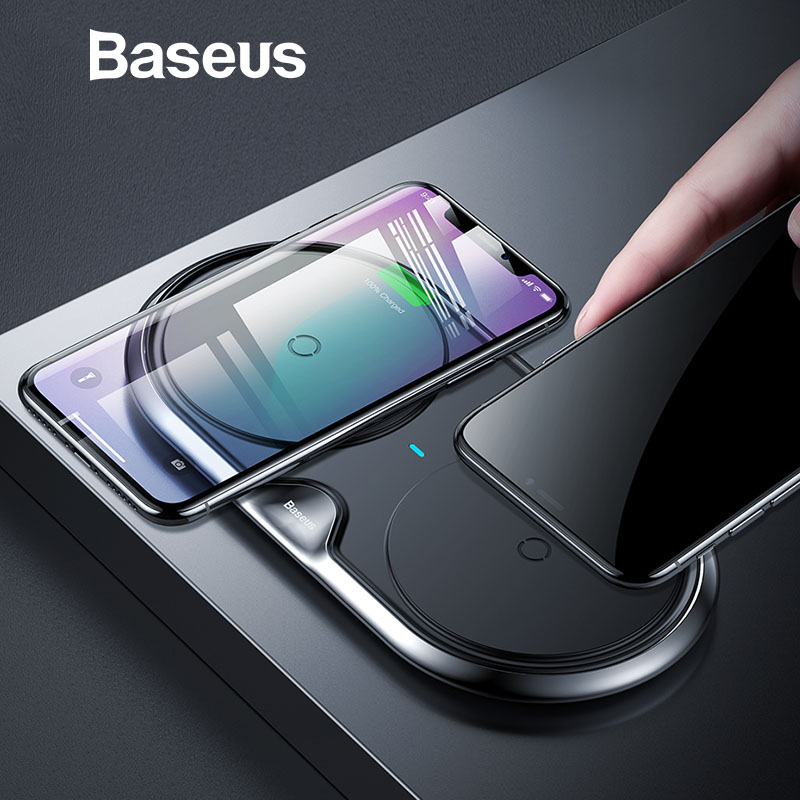 Baseus Dual Caricatore Senza Fili Per iPhone X XS Max Xr Samsung S9 S8 Nota 8 9 10 W Wireless Veloce pad di ricarica della Stazione Del Bacino Desktop