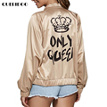 Bomber Jacket Women Basic Coats Female 2017 Spring Autumn Khaki Long Sleeve Letter Pattern jaqueta feminina chaquetas outerwear