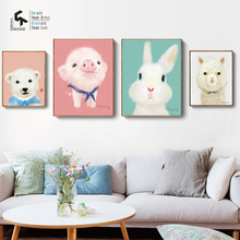 CREATE&RECREATE Nursery Decor Animal Poster Wall Art Canvas Painting Posters And Prints Home Decoration Pictures CR1810106024
