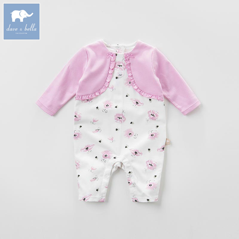 DB7108 dave bella spring new born baby cotton romper infant clothes girls pink cute striped romper baby 1 piece db5033 dave bella summer new born baby unisex rompers cotton infant romper kids lovely 1 pc children romper