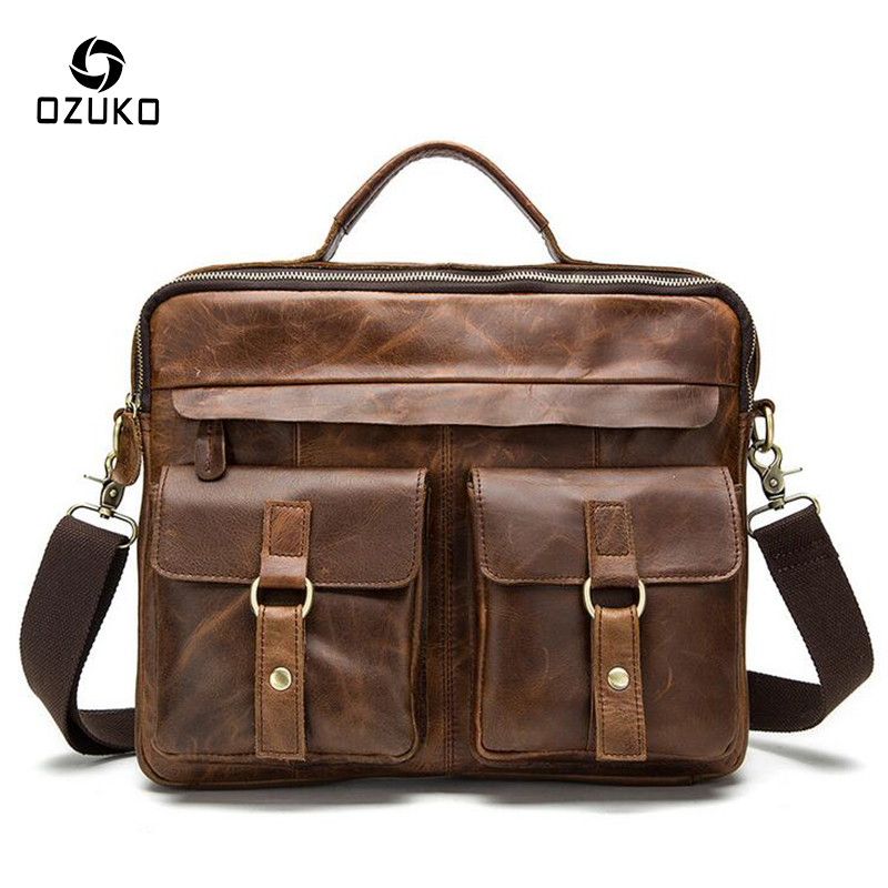 OZUKO Genuine Leather Men Bags Crazy Horse Leather Male Crossbody Shoulder Bag Business Men's Briefcase High Quality Handbags