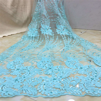 Madison Indian George lace Nigerian Teal lace Fabrics 2019 high Quality African Sequins Fabric For Party Dresses