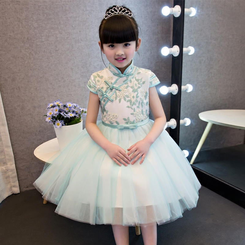 Chinese Traditional Girls Summer Dress Children Kids Cheongsam Princess Embroideried Flowers Mesh Qipao Birthday Wedding Dresses short modern cheongsam chinese dress robe vietnam ao dai chinese traditional dress chinese dress qipao chiffon