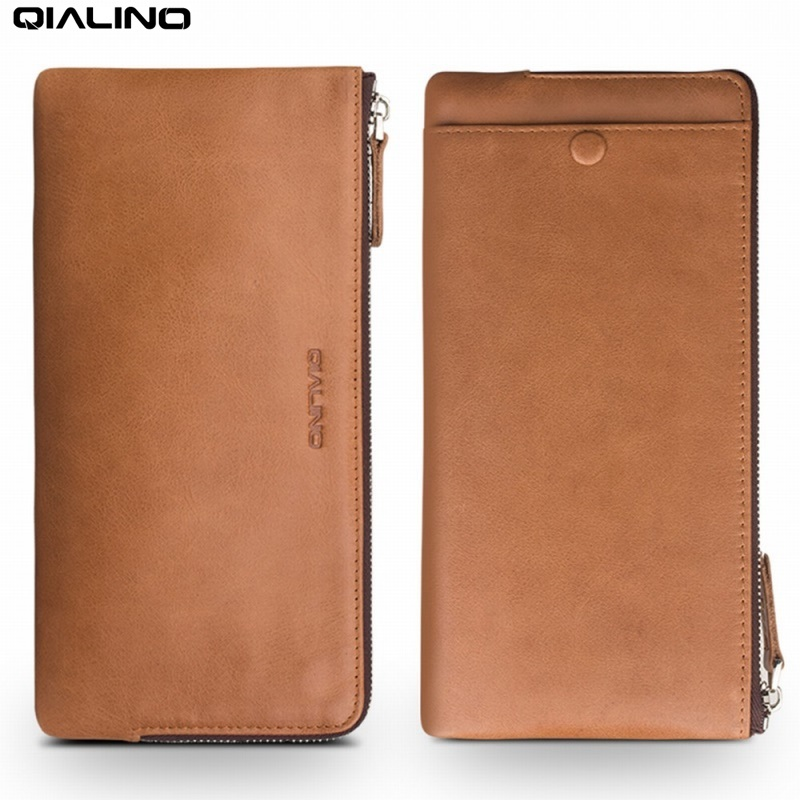 QIALINO for Samsung Galaxy S8 Plus Case Wallet Pouch Genuine Leather Protective Shell for Huaiwei P10 Plus for iPhone 7 Plus