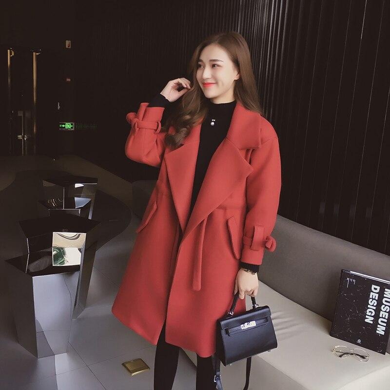 Long Mode Solide Black Rouge Outwear Noir Femmes D'hiver Orange red Avec Col Manteau Down Poches Moyen Ceinture Épais Turn De xWCBerdo