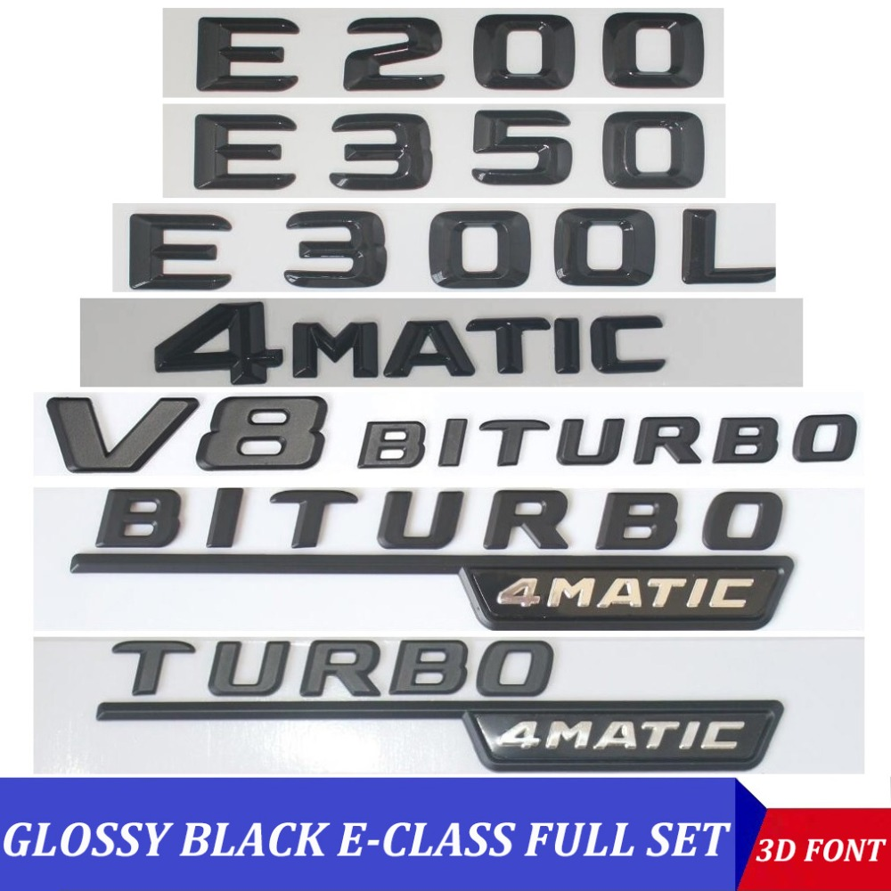 BRAND NEW 3D Adhesive E 350 ////// AMG Gloss Black Badge Emblem fits Mercedes Benz