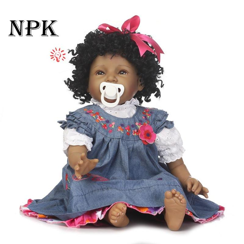 Creative Black Reborn Doll Soft Silicone Realistic Newborn Baby Playmate Doll Toy Reborn Baby Lifelike Dolls For Kids Gift ucanaan 20 50cm reborn doll hair rooted realistic baby born dolls soft silicone lifelike newborn toys for girls xmas kids gift