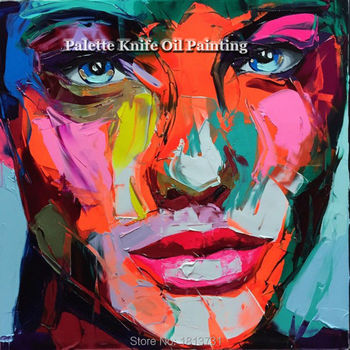Hand painted Francoise Nielly Palette knife portrait Face Oil painting Character figure canva wall Art picture15-19