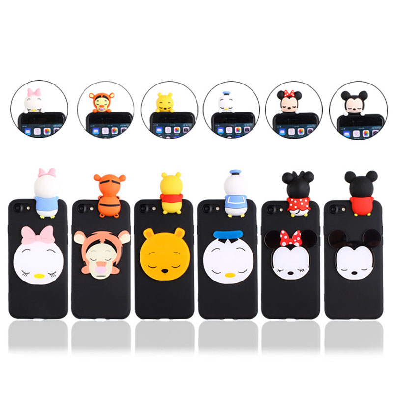 3D Cartoon Mickey Minnie Case For Xiaomi Redmi 3S 4A 4X 5 Plus 5A 6 Pro 6A Cute Duck Tiger Bear Soft Cover
