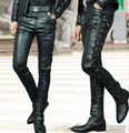 2016  slim male PU leather pants personalized black red white plus size trousers velvet men singer DJ stage show clothing wear