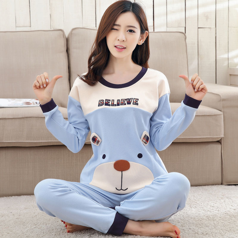 2019 Women Pajamas Sets Autumn Winter New Women Pyjamas Cotton Clothing Long Tops Set Female Pyjamas Sets NightSuit Mother Sleep 124
