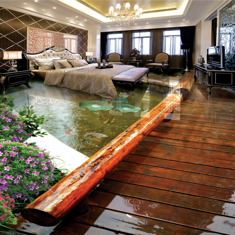 Free Shipping Park wooden bridge lotus koi living room bathroom 3d flooring thickened bedroom square lobby flooring mural
