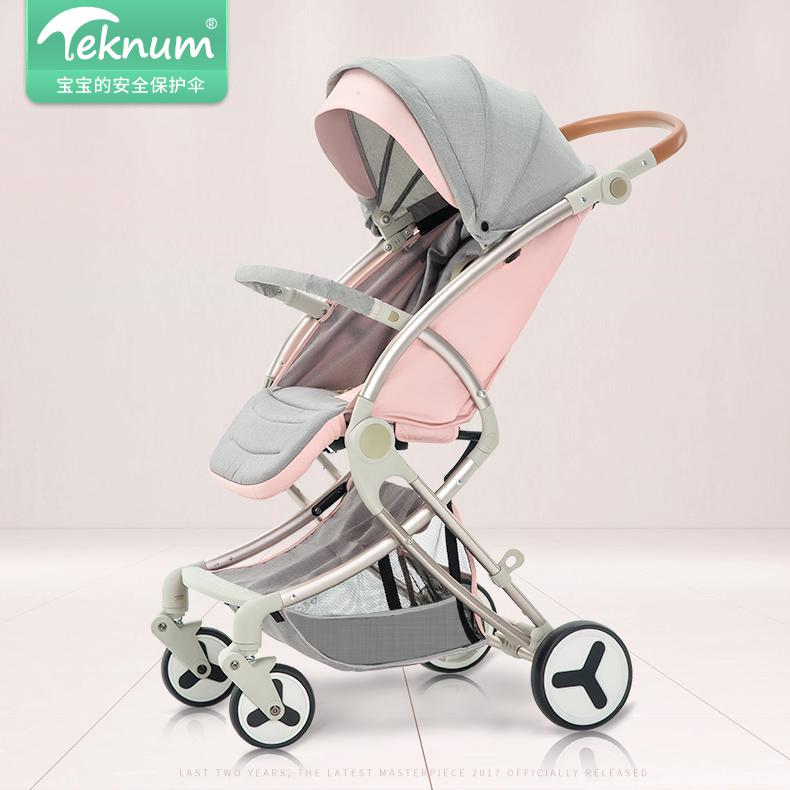 Teknum Baby Stroller Trolley  High Landscape Small Hand Push Umbrella pram kds twin baby stroller high landscape two baby trolley hand double fold front and rear can lie luxury umbrella carts