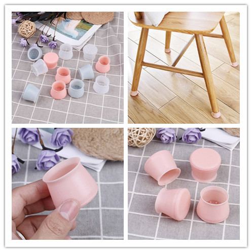 4pcs Silicone Rectangle Square Round Chair Leg Caps Feet Pads Wood Floor Protectors Protective Furniture Table Covers