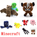 9pcs/lot Minecraft Game Plush Toys Minecraft Steve Enderman Squid Bat Stuffed Plush Toys Doll Cartoon Game Toys for Baby Gift