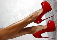 Chaussure Femme/пикантные женские туфли лодочки на очень высоком каблуке 16 см из красной лакированной кожи на тонком каблуке вечерние женские туфл