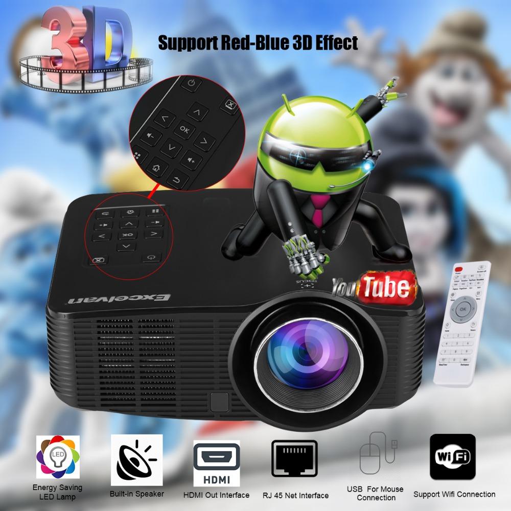 Prix pour Excelvan LED3018 LED WiFi Android 4.2 Projecteur 1500 Lumens AV/HDMI/USB/SD Home Cinéma Pour Les Jeux l'éducation Réunion Projecteur