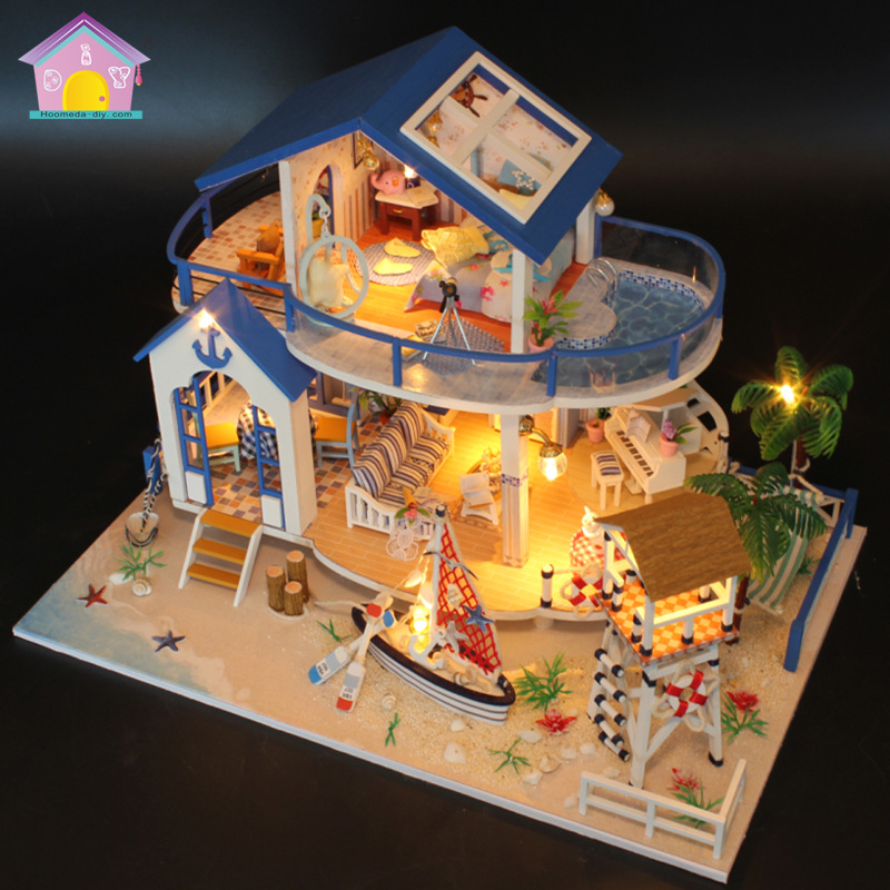 Original Genuine 3d Diy Assemble Ocean Villa Pool Beach House Led Dollhouse  Match Sylvanian Families Gift For Children Girls In Doll Houses From Toys  ...