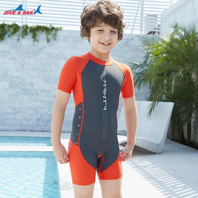 21a59f2fdfd82 ... Kids Boys Swimsuit UPF50+ One-Piece Rash Guard Swimsuit Jump Suit Dive  Skin Sun UV ...