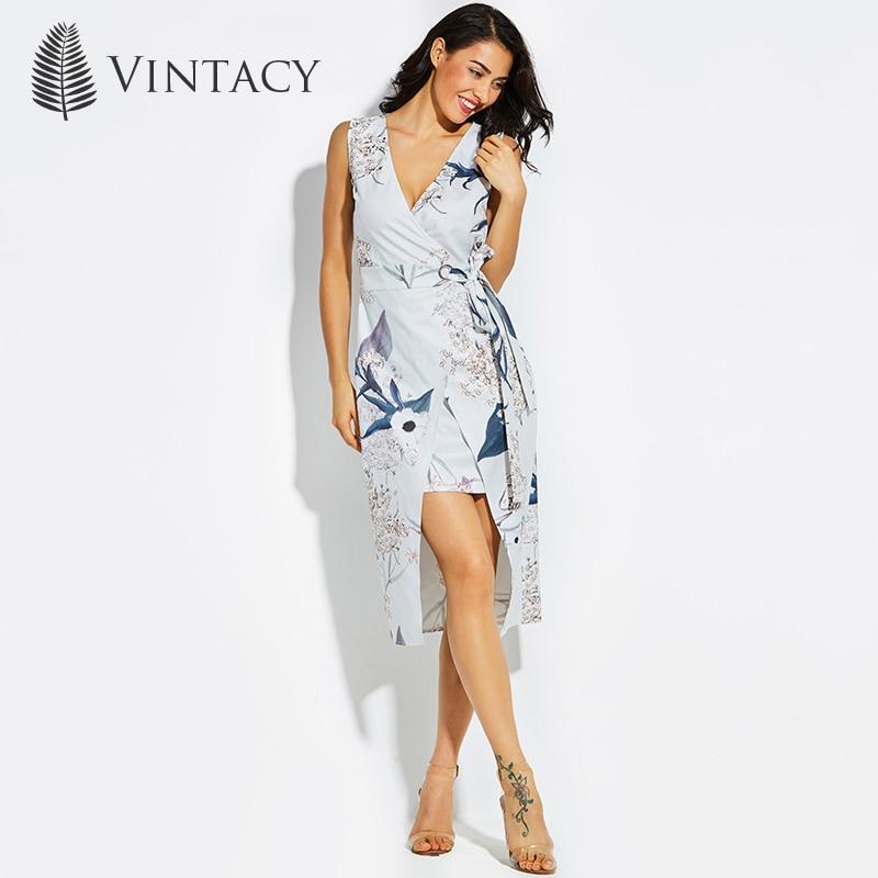 Vintacy New women gray dress V neck Flower Print summer beach vacation dresses Asymmetrical spring party long dress Sleeveless